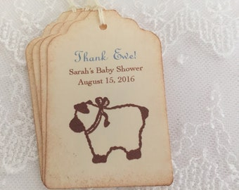 Boy Lamb Tags Blue Lamb Baby Shower Personalized Set of 10
