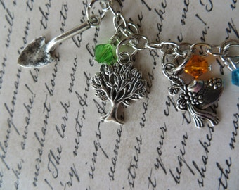 Gardening Themed Silver Charm and Crystal Bracelet