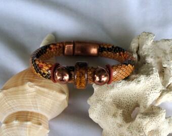 Men- Vegan Snakeskin Leather Bracelet