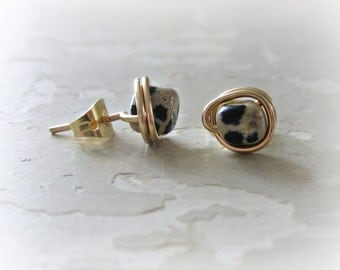 Dalmatian Jasper Posts, Black White Studs, Gold Filled Studs, Little Stud Earrings, Natural Stone Posts, Spotted Earrings, Contempo Jewelry