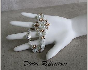 White Pearl Bracelet, White and Gold Bracelet, Lacy Pearl Bracelet