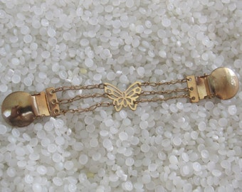 Vintage sweater guard   sweater clip, gold butterfly chain link may work as dress clip