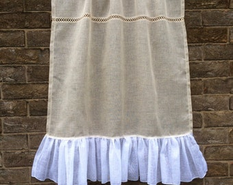 French Country Window Curtain, Sheer Linen Curtain, Natural Ecru and White