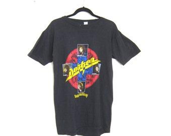 80s Dokken Black Concert Tour Rock Hair Band Distressed Worn In Tee Shirt Size M/L