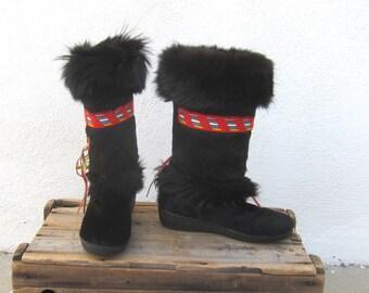 Oscar Goat Fur Sheepskin lined Platform Boho Black Fringed Made in Italy Size 40, US Size 9