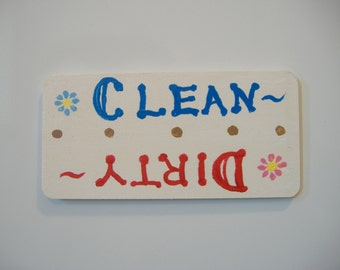 Dishwasher Clean/Dirty magnetic sign, Hand-painted