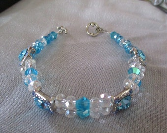 2 Strand bead bracelet shades of blue and crystal