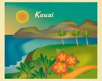 Kauai Art, Kauai map, Hawaii art, Kauai skyline art, Hawaii travel poster, Kauai souvenir, Kauai gift, Kauai HI Poster - Art style E8-O-KAU
