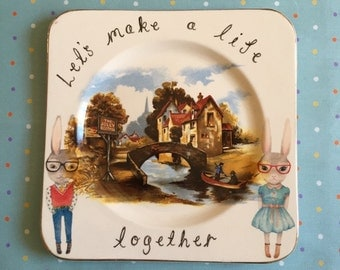 Let Make a Life Together Bunny Hipster Couple Wedding Scenic Vintage Illustrated Large Plate