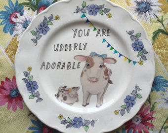 Udderly Adorable Cows Vintage illustrated Plate