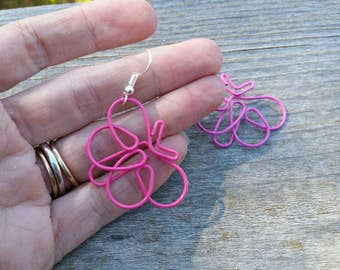 Pink Butterfly Paperclip Earrings - Repurposed Paperclip Jewelry - Clip on and Hook Available