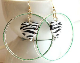 Green and Silver Large Hoop Earrings with Zebra Heart Bead Center Handmade Statement Jewelry