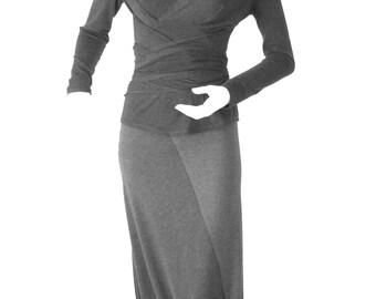 Skirt,culottes,grey skirt,long skirt,medium skirt,jersey skirt,asymmetric skirt,original skirt,autumn skirt,original design,casual  S-06