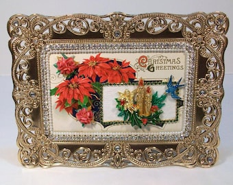 Embellished Framed Vintage CHRISTMAS Postcard....Poinsettias and Candles oh my!!