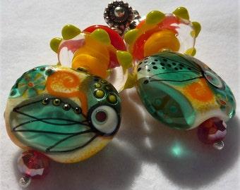 Lampwork Earrings TROPICAL PARADISE
