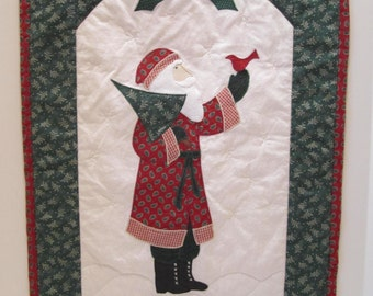 Vintage Father Christmas Quilted Wall Decor - Christmas Holiday Decor - St.Nick - Santa Claus