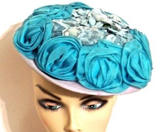 vintage blue floral hat - 1940s-50s Valerie Modes fascinator hat
