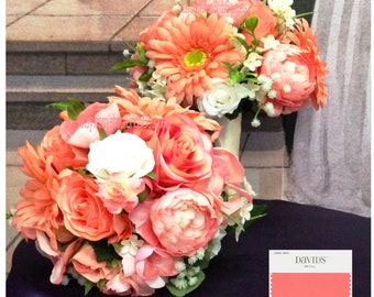 New Custom Country Chic Coral Reef Bridal Bouquet, Coral Reef Bridal Bouquet, Coral Wedding Flowers