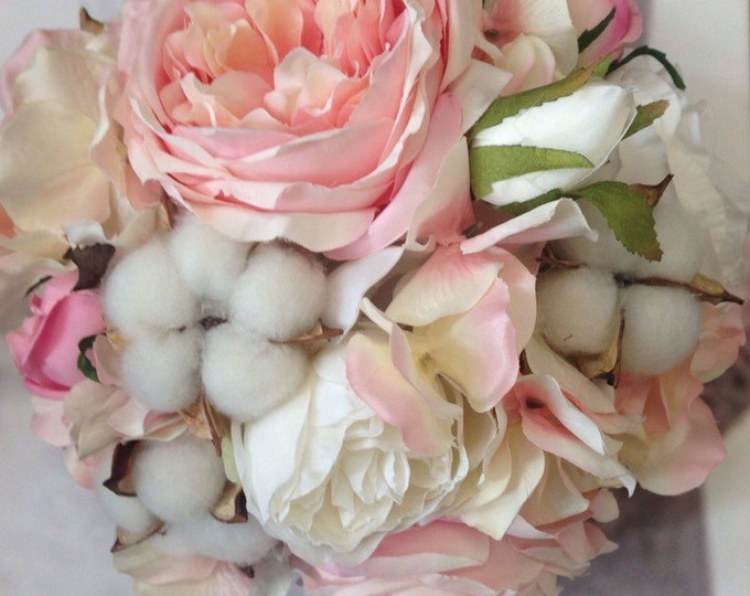 New Country Chic Cotton Pod Bridal Bouquet, Cotton Pod Wedding Bouquet, Cotton Pod Bouquet