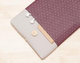 iPad Pro case, iPad Air 2 sleeve, iPad Pro 9.7 case, iPad Air 2 sleeve - Red dots in grey -
