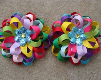 2 Rainbow Hair Bows Loopy Hair Bows pigtail hair bows