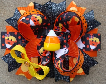 Candy corn Hair Bow Halloween Hair Bow Halloween boutique hairbow large hair bow Stacked Boutique Hair bow Orange hair bow holiday hair bow