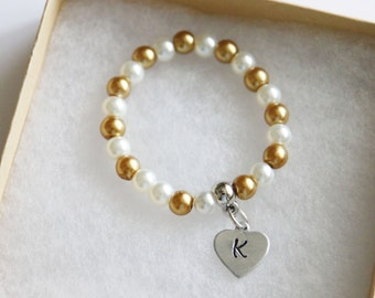 Gold Pearl Flower Girl Bracelet, Personalized Initial Gold White Bracelet, Children's Jewelry, Stretch Bracelet, Hand Stamped Heart Initial