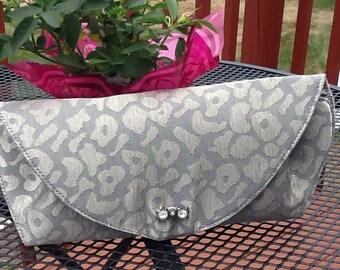 Silver Animal Print Hand Evenin Clutch Bag