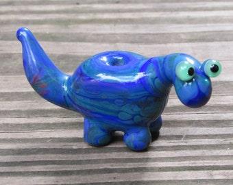 Blue Green Dino Dinosaur Lampwork Glass Handmade SRA Artisan Bead NLC Beads leteam
