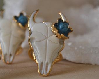 Flower Bull Ring /// 24kt Gold Electroformed/// Size 7