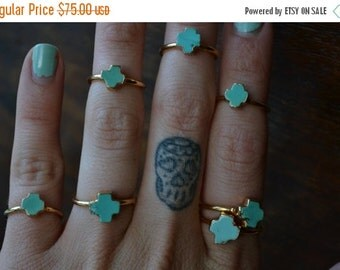 50% OFF Maria Ra /// Stackable Turquoise Cross Electroformed Ring /// Gold
