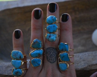 TURQUOISE RING /// Electroformed in 24kt Gold /// The Serpent Ring