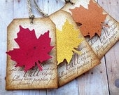 Autumn Leaves Gift Tags Rustic Woodland Fall Thanksgiving Leaf