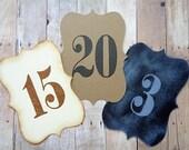 Wedding Table Numbers Vintage Style Chalkboard Style Brown Kraft