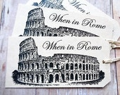 Italian Wedding Favor Tags When in Rome Colosseum