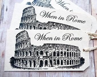 Italian Wedding Favor Tags When in Rome Colosseum