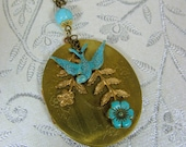Vintage Locket, Oval Large Floral Locket, Blue Verdigris Swallow, Patina Sparrow, Floral Branches - 0012