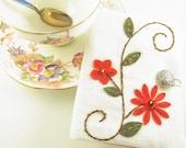 Tea Bag Travel Wallet Red Appliqued Rosemailing Design