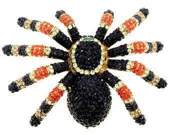 Large Black Spider Swarovski Crystal Shoulder Pin Brooch 1010564