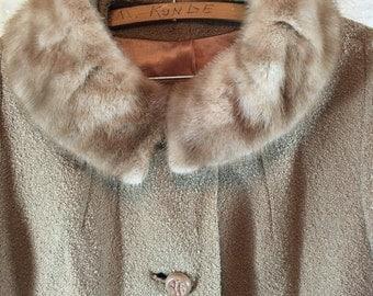 Vintage 60s light Brown Mod Peacoat Coat Mink Fur Collar XL