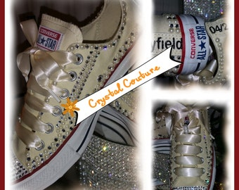 Ivory  Pearl and Crystal Wedding Converse  Shoes