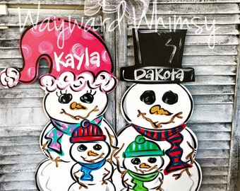 Snowman Family Wood Cut Out Door Hanger