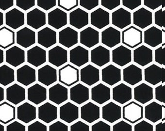 Cotton Fabric - Black and White Honeycomb Print - by the YARD