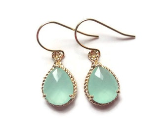 Mint aquamarine glass gold tear shape drops on french wire earrings.  Everyday.  Bridal. Bridesmaids.  Wedding Jewelry. MOTHER'S DAY.