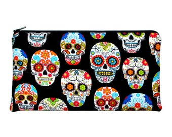Day of the Dead Tattoo Skulls Zipper Pouch Pencil Case Clutch Purse