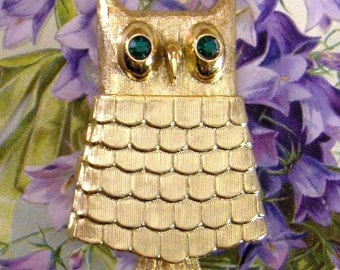 Owl Brooch - Avon Jewelry - Green Rhinestone Eyes - Sachet Locket
