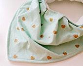 Baby Bib - Toddler Drool Bib - Baby Bandana Bib - Mint Gold Bib - Baby Shower Gift - Valentine's Day Baby - Heart Bib - Baby Neck Scarf