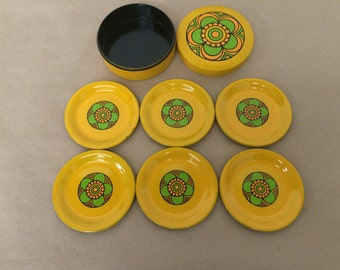 Vintage Set of 6 Floral Plastic Coasters