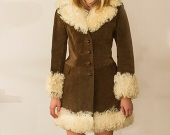 vintage 60s suede fur trimmed rockabilly swing princess coat