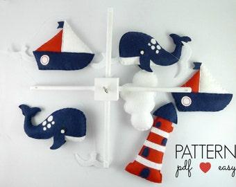 Nautical Nursery, Nautical Mobile Pattern, Nautical Baby Mobile, Felt Sewing Pattern, Sea Navy Nursery, Sailboat Crib Mobile